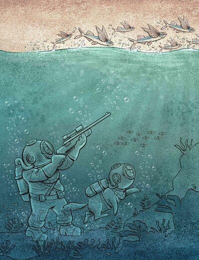 عکس خبري -کاريکاتور / زير آب هم دست از سر حيوانات برنمي داريم!