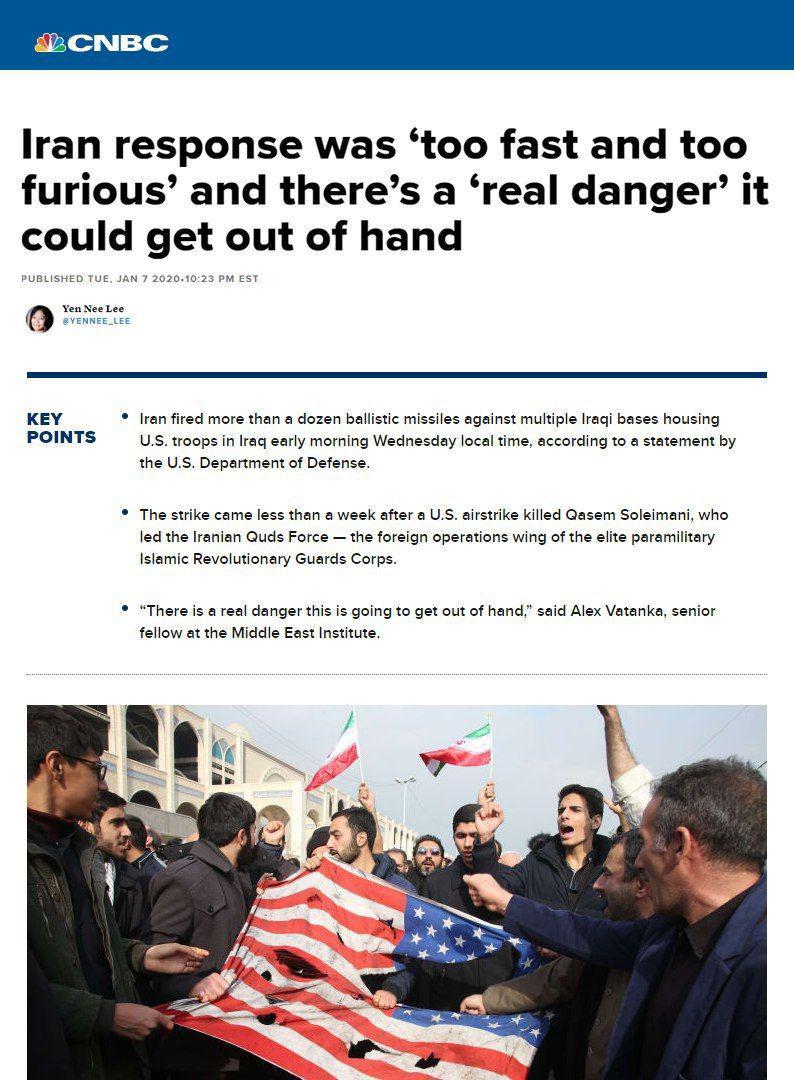 عکس خبري -عکس / تيتر جالب CNBC: پاسخ ايران؛ «سريع و خشن»