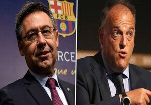 عکس خبري -جنجالآفريني رئيس مستعفي باشگاه بارسلونا در آخرين نشست خبرياش و واکنش تند رئيس لاليگا